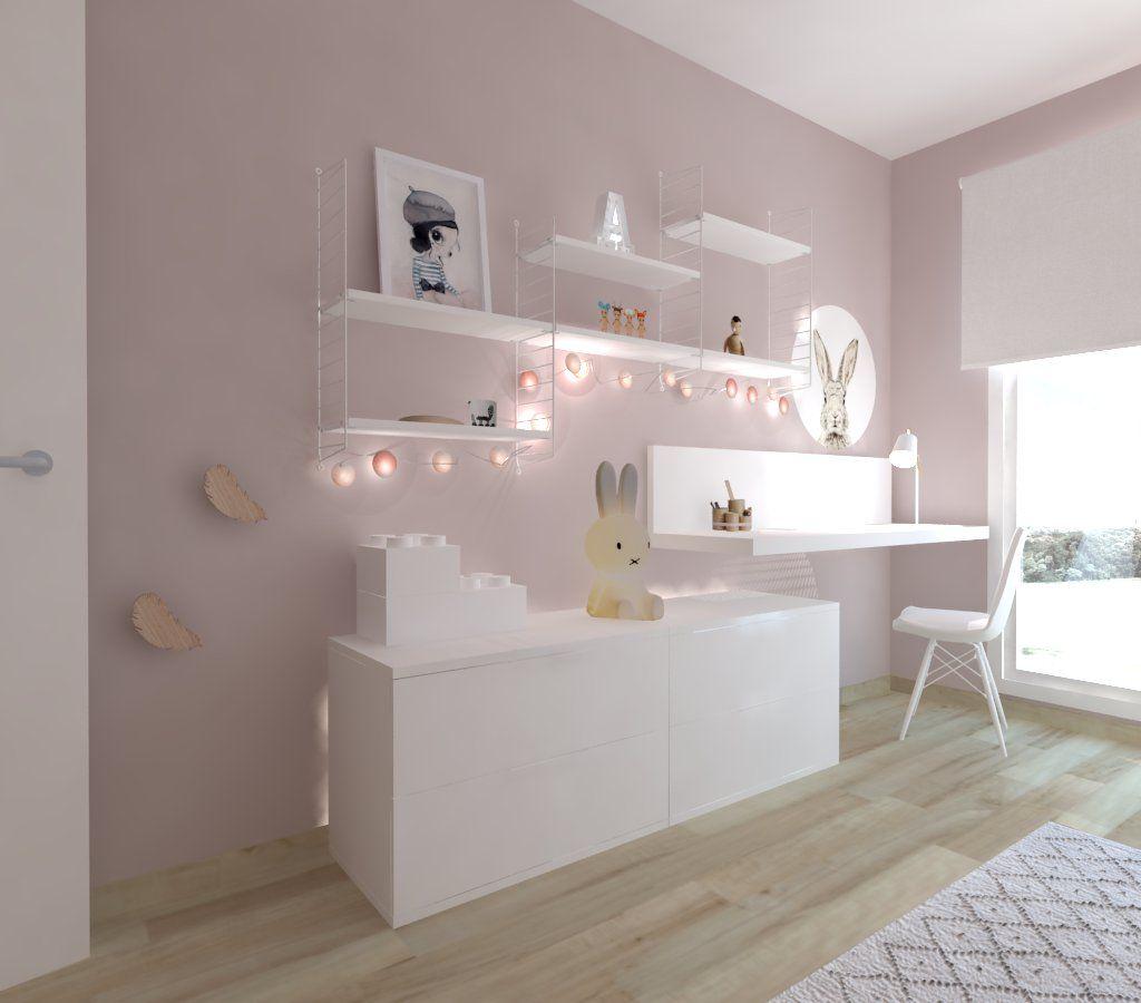 Habitaci N Gris Y Rosa Con Papel Pintado Oh Clouds De Mr Mighetto  # Muebles Infantiles Lupi Love