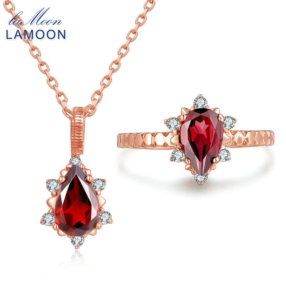 Lamoon xmm ct natural red garnet pyrope sterling silver