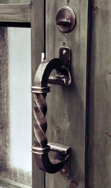 Wrought Iron Spiral Door Pull Blacksmith Hand Forged