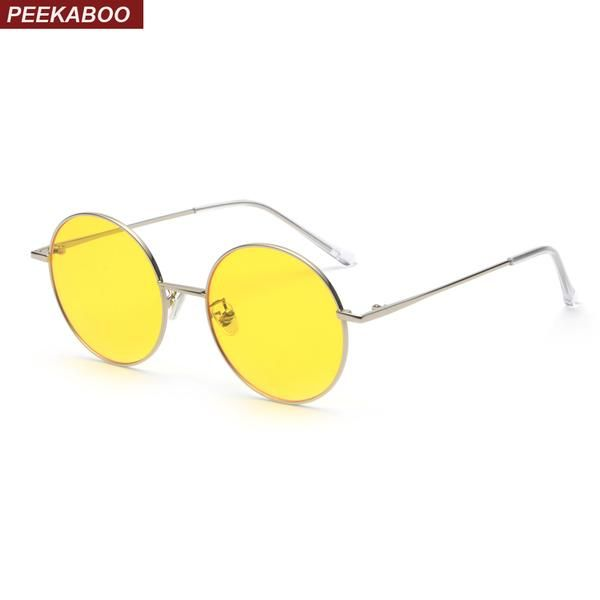 83fc989298  FASHION  NEW Peekaboo candy color sunglasses men round metal frame 2018  summer style women sun glasses with yellow lenses uv400