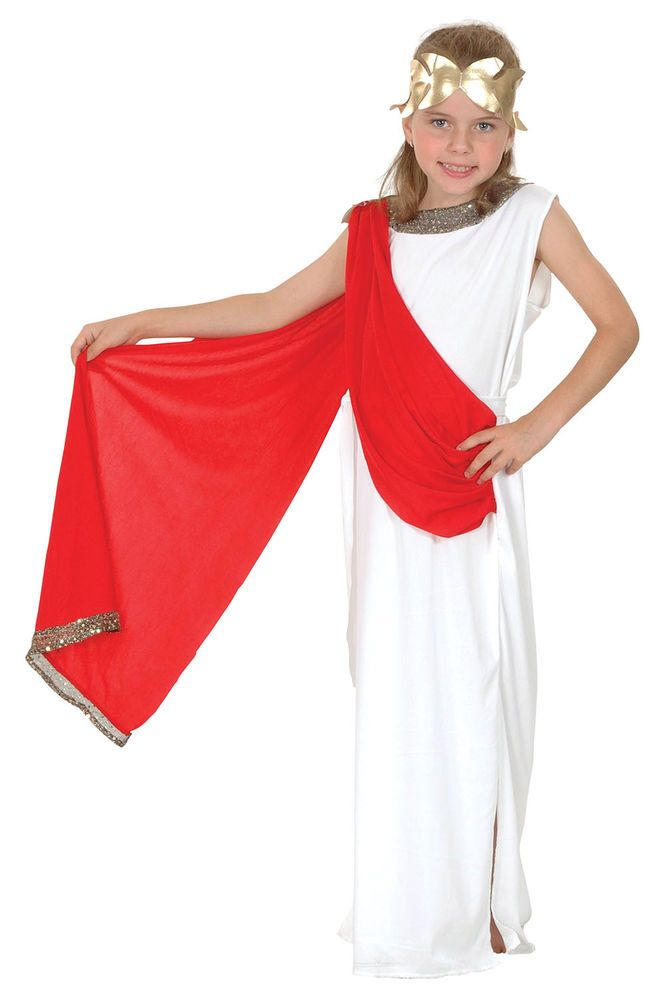 8b5c5f3647 Goddess Childs Roman Greek Girls Historical Fancy Dress Costume Kids Medium