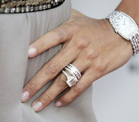 Eva Longoria\'s ring and stacked wedding bands. | Famous Rings ...