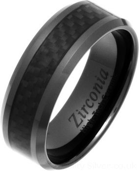 8mm Black Carbon Fibre Zirconia Ceramic Ring UK sizes J to Z6 in