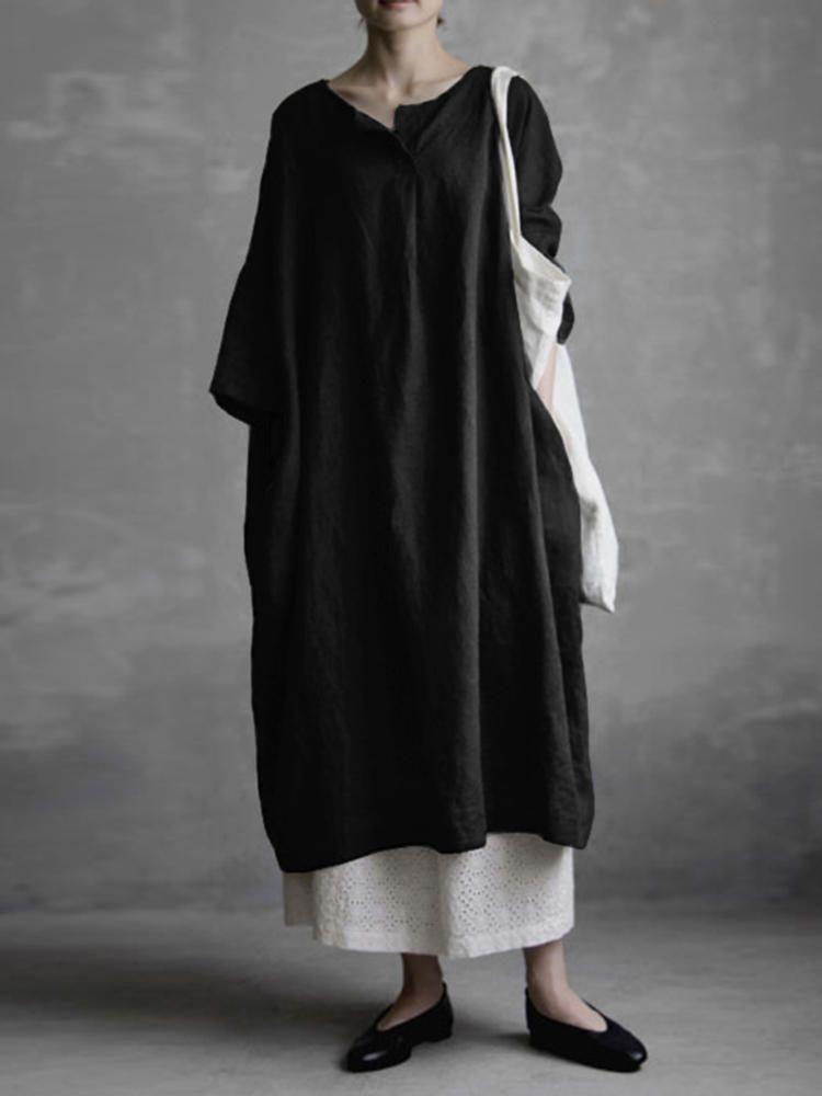 8b5d5ff87806 Women Vintage Solid Color Cotton Half Sleeve Dress