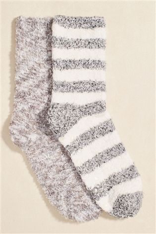 Buy Grey 2PK BEDSOCK WAVE from the Next UK online shop