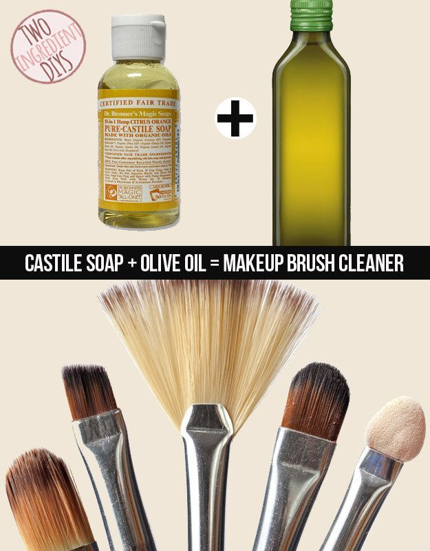 Get your makeup brushes clean as a whistle with castile soap and olive oil. | 27 Insanely Easy Two-Ingredient DIYs