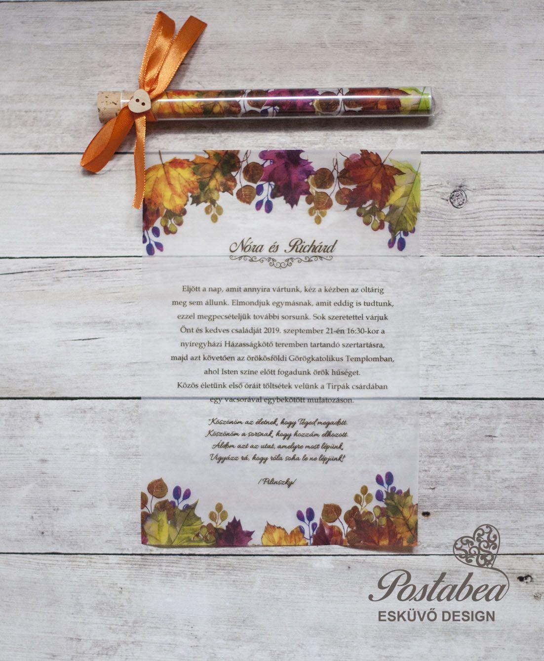 1c0f94ed74 őszi kémcsöves esküvői meghívó - autumn test tube wedding invitation ...