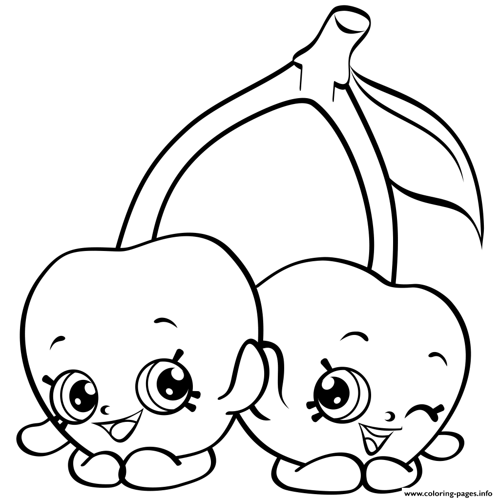 Shopkins coloring pages to print out - Print Cartoon Cherries Shopkins Season 4 Coloring Pages Printable