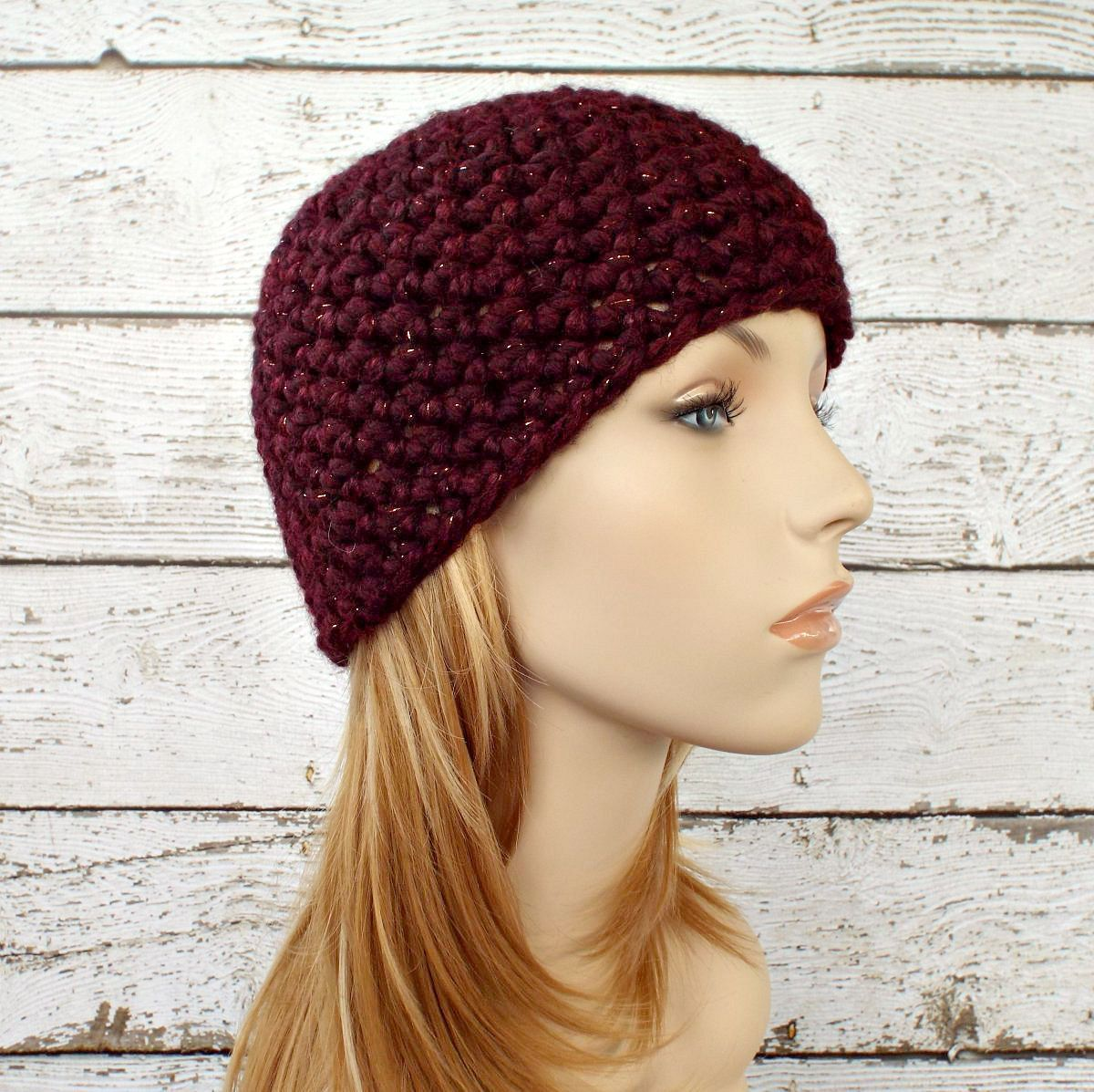 0cfc3e61e0d Burgundy Crochet Hat Red Womens Hat - Cabernet Red Hat Red Beanie Chunky Crochet  Hat Womens Accessories Winter Hat - Ready To Ship by pixiebell on Etsy