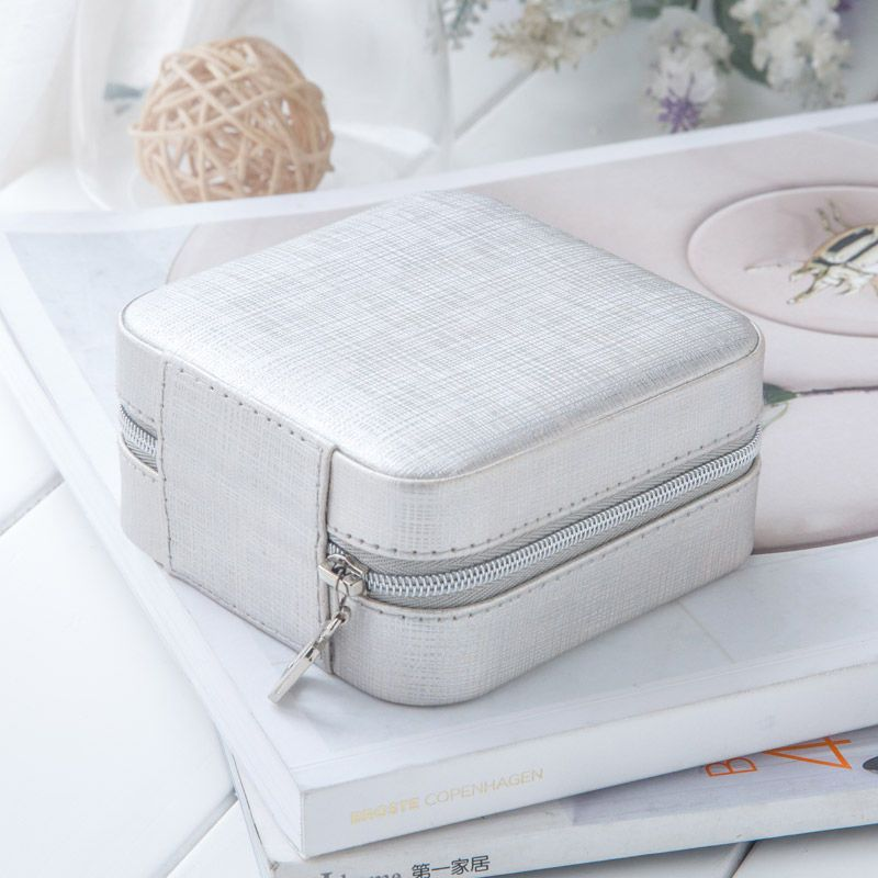 Small Faux Leather Travel Jewelry Box Easy Portable Gift Storage
