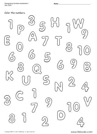 Snapshot image of Recognizing Numbers 1-10 worksheet