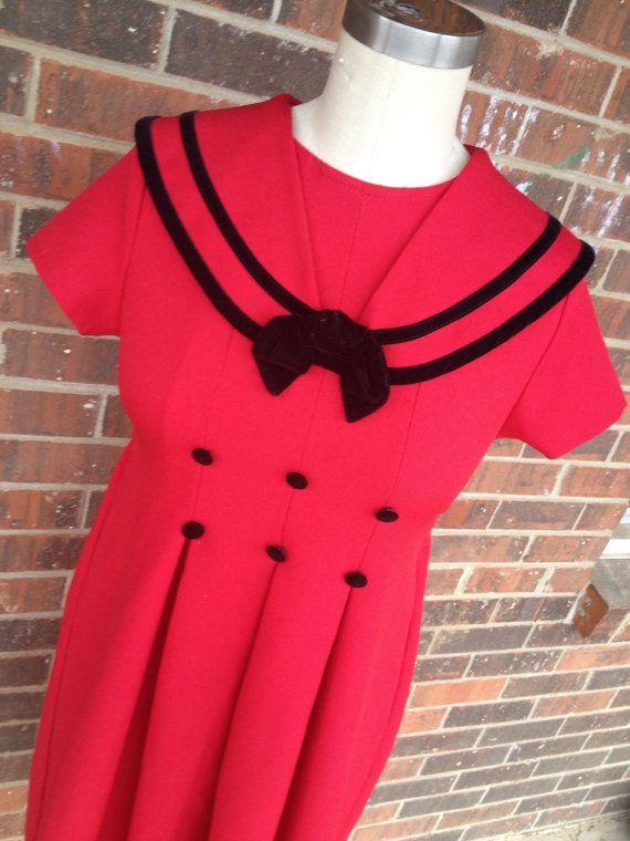 Red Rockabilly Dress by SallyMarieVintage on Etsy