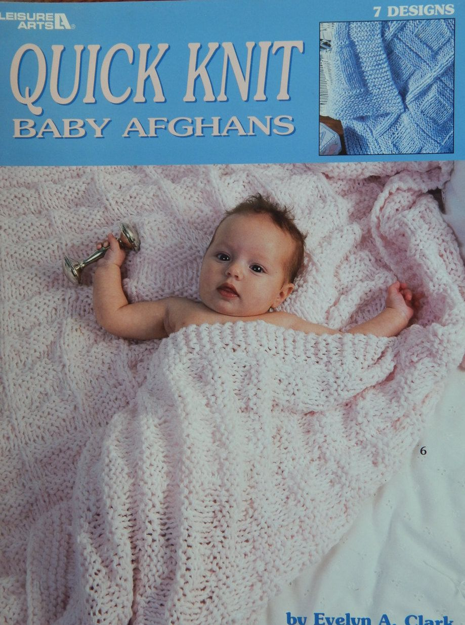 Leisure Arts Quick Knit Baby Afghan Patterns 7 Designs By
