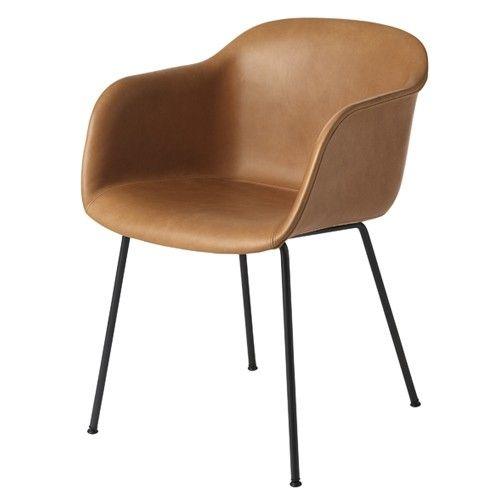 849,00 Fiber chair Muuto stoel in cognac leer / leather onderstel ...