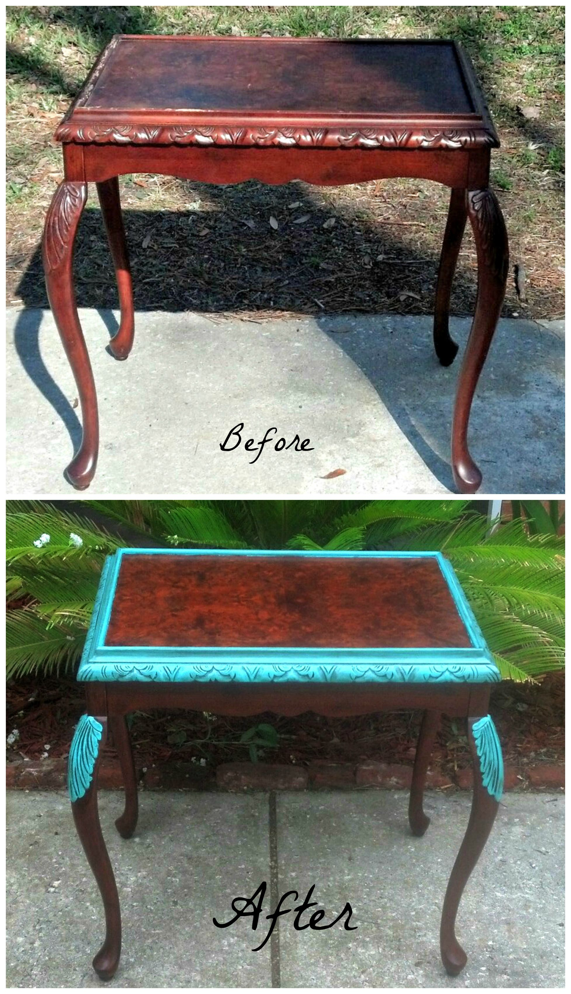 My before and after of the Bombay Table Hand painted Bombay