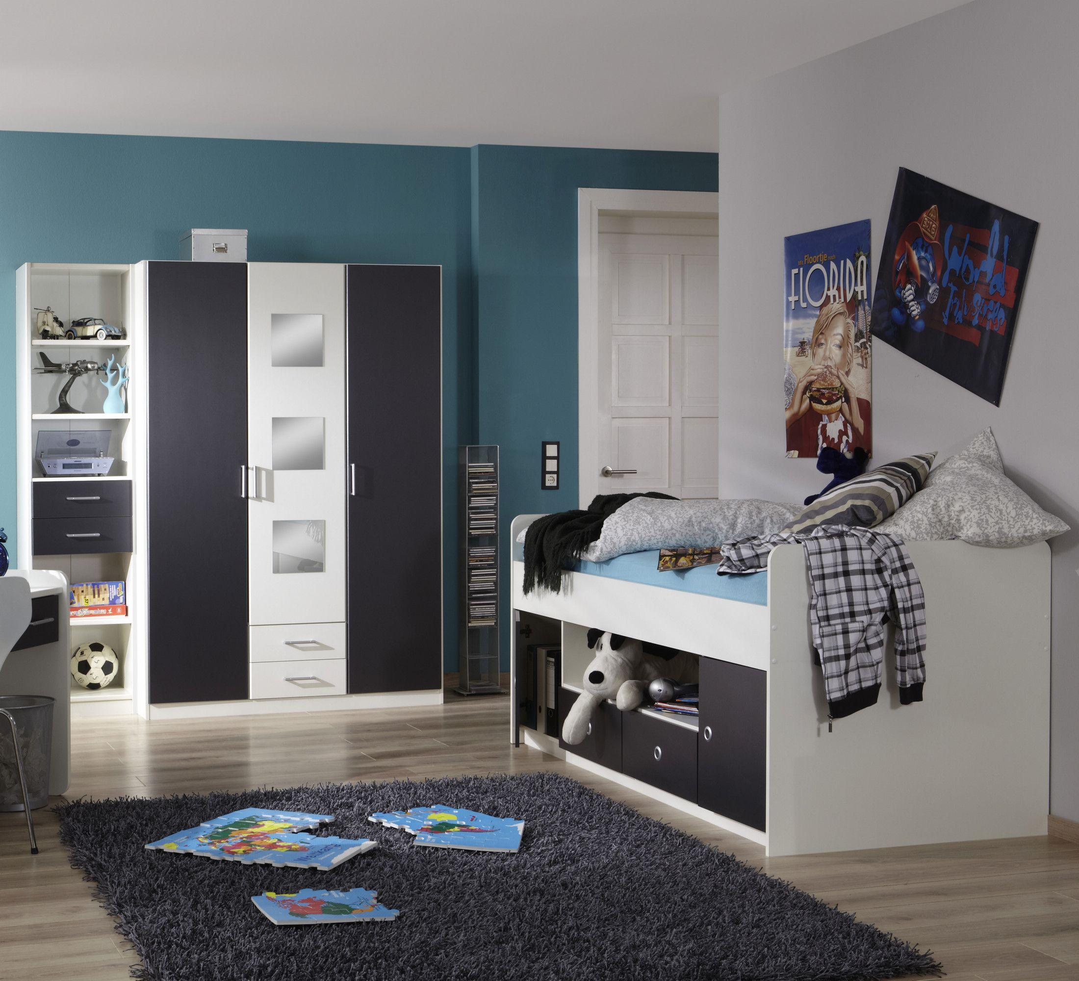 Jugendzimmer Mit Bett 90 X 200 Cm Alpinweiss Anthrazit Woody 132
