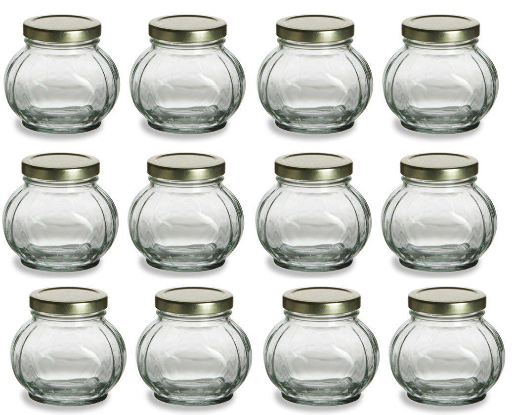 Nakpunar 12 pcs, 8 oz Round Glass Jars for Jam, Honey, Wedding ...
