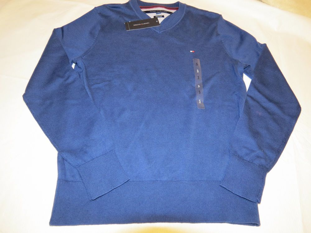 825886f64fa0b0 Mens Tommy Hilfiger long sleeve sweater shirt v neck 7864540 Twilight Blue  470 M  TommyHilfiger  sweater