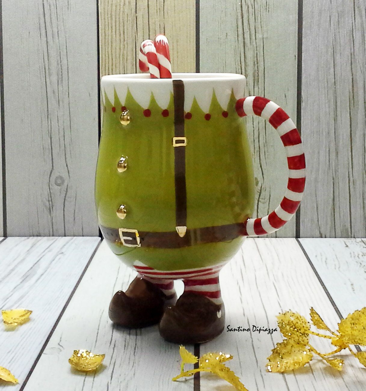 Green Elf Coffee Mug Christmas Gift Cup Candy Cane Mugs Etsy In 2021 Mugs Christmas Coffee Pottery Mugs