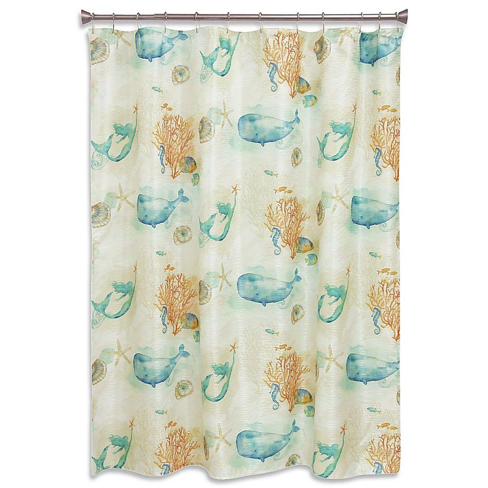 Bacova Sea Splash Shower Curtain In Blue Coral Vintage Shower Curtains Striped Shower Curtains Watercolor Shower