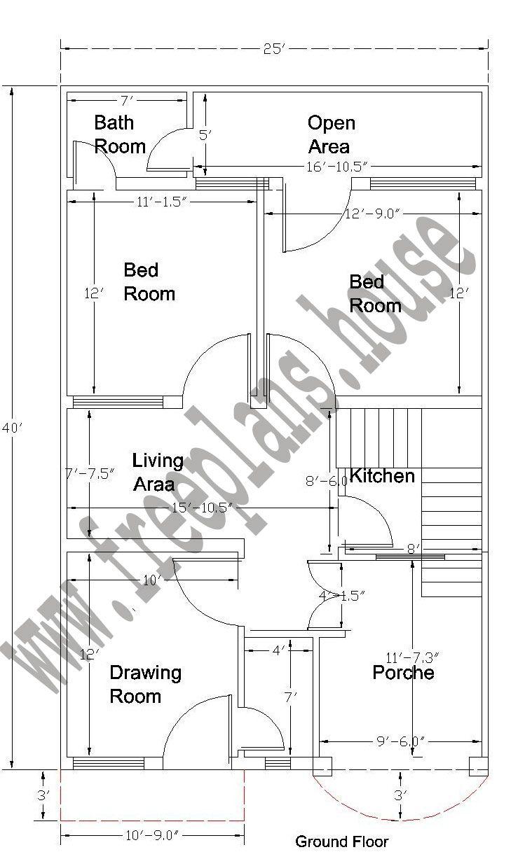 20X40 Feet Ground Floor Plan | Simple house plans, 20x40 ...