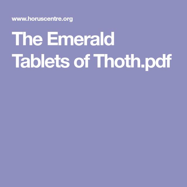Emerald Tablets Pdf