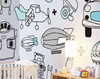 Boys World Removable Wallpaper Self Adhesive Pattern Nursery