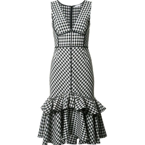 Tome sleeveless gingham dress ($1,895) ❤ liked on Polyvore featuring dresses, black, gingham dress, sleeveless dress, no sleeve dress, gingham print dress and tome