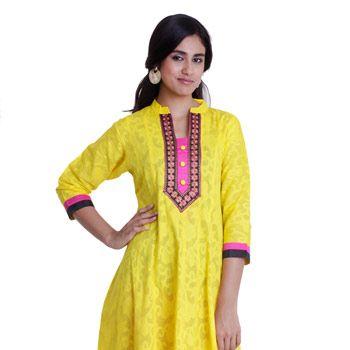 Yellow Cotton Readymade Long kurta