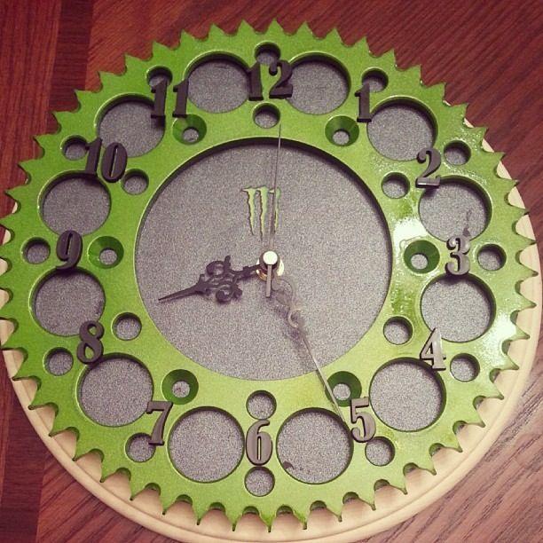 My Clock Made Out Of A Dirt Bike Sprocket Bike Room Dirt Bike