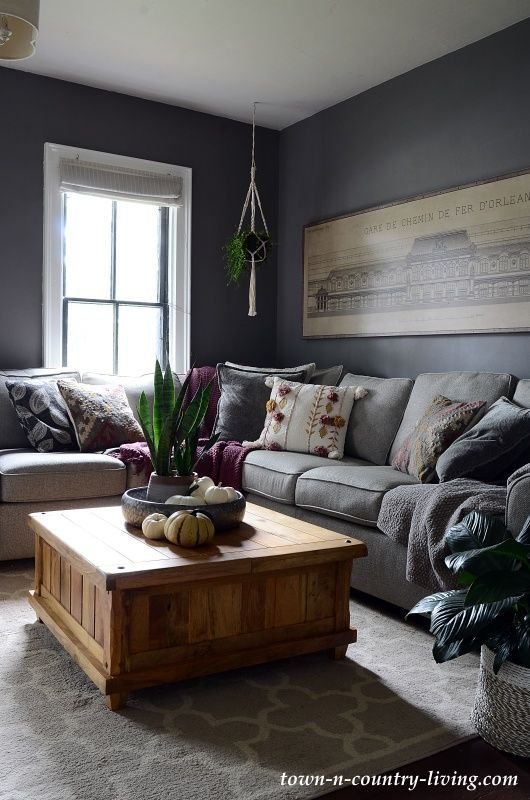 Photo of Dark Gray Family Room Painted in Moles Breath by Farrow and Ball