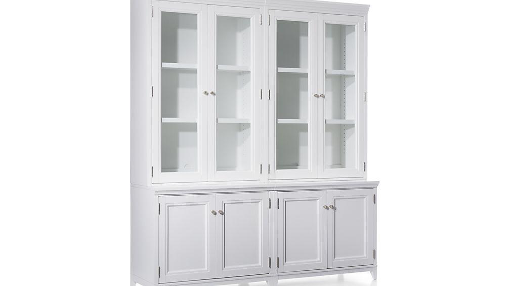 Harrison 4-Piece White Modular Wall Unit/Glass Doors 72\
