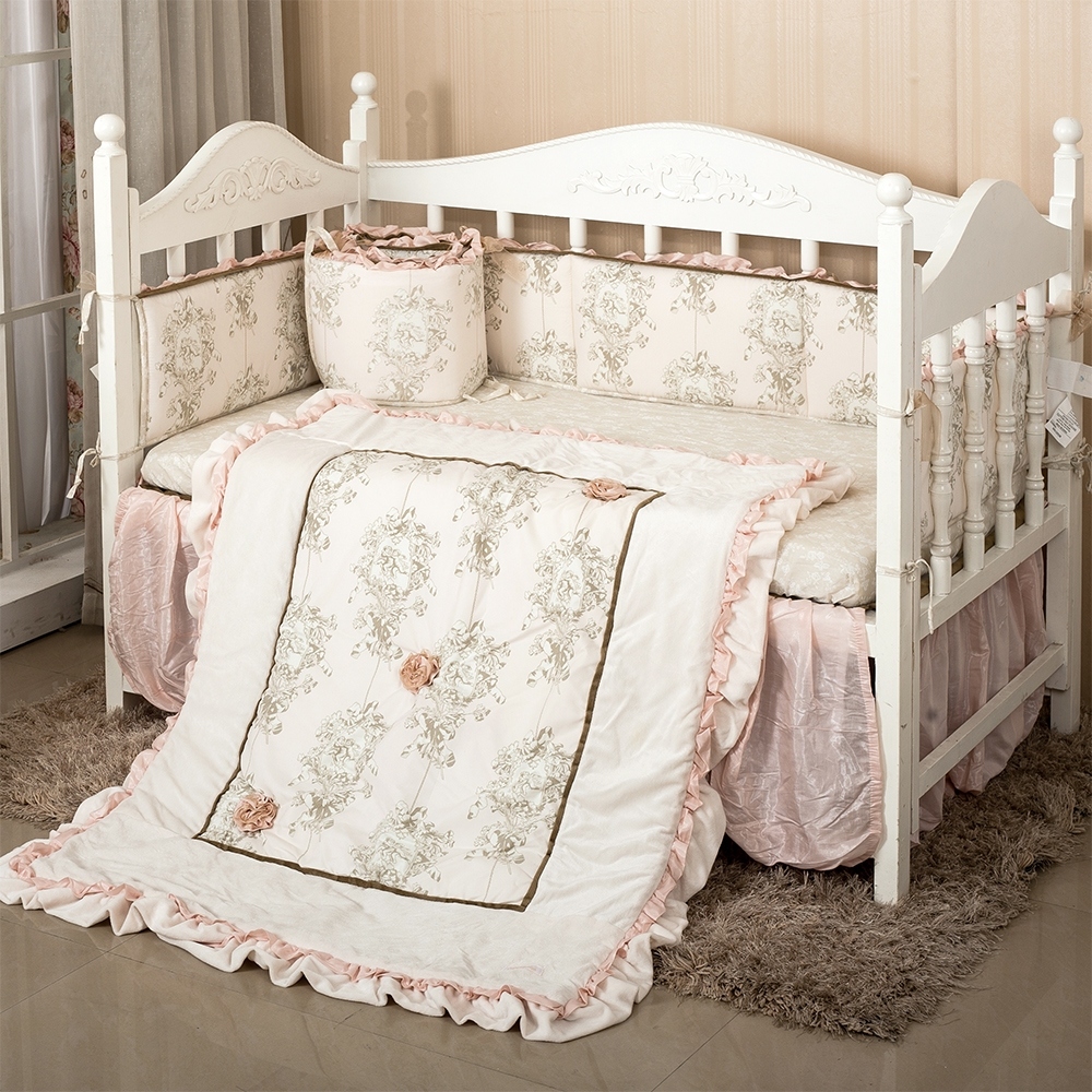 132.89$  Buy here - http://alie8j.worldwells.pw/go.php?t=32674841118 - 7Pc Crib Infant Room Kids Baby Bedroom Set Nursery Bedding Floral cot bedding set for newborn baby girls 132.89$