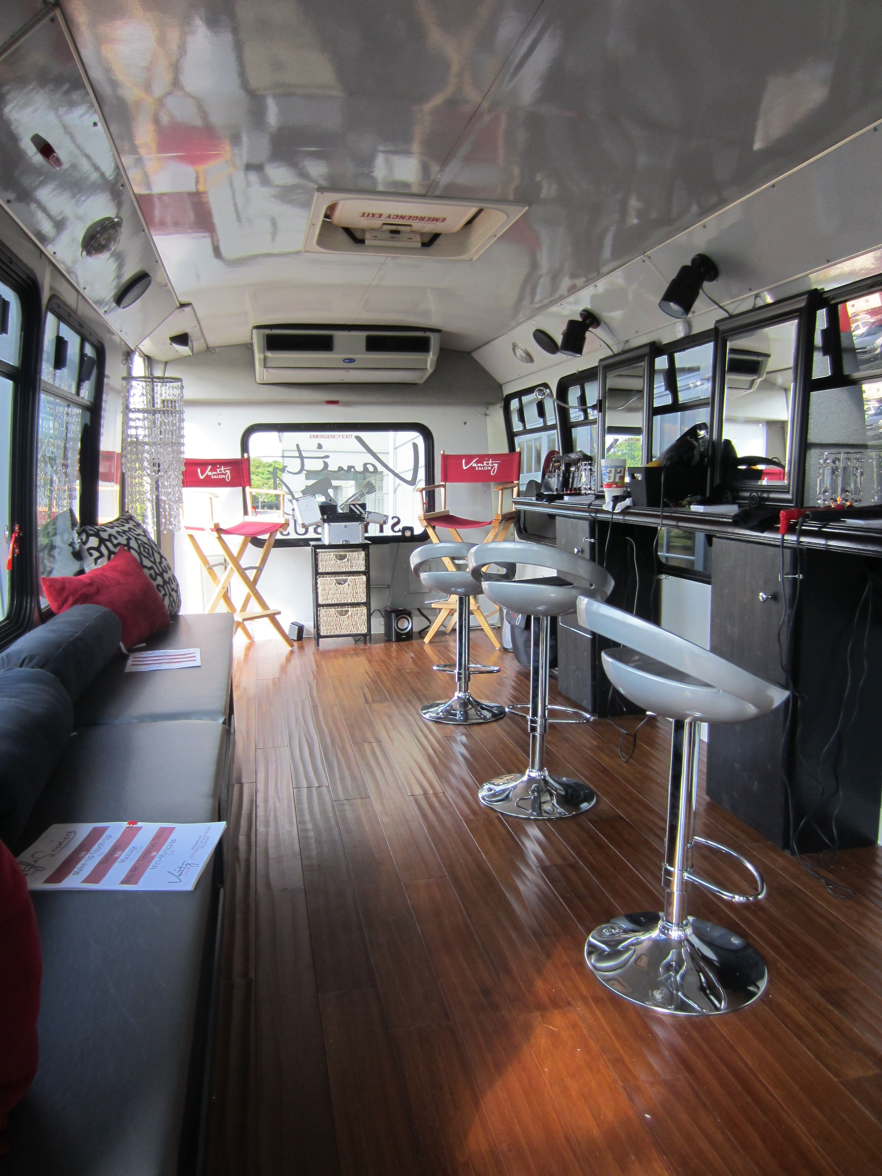 The inside of the vanity salon style bus style bus by for Bus salon marignane