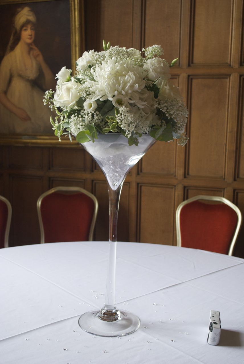 White wedding centrepiece martini vase with white flower white wedding centrepiece martini vase with white flower arrangement floridaeventfo Images