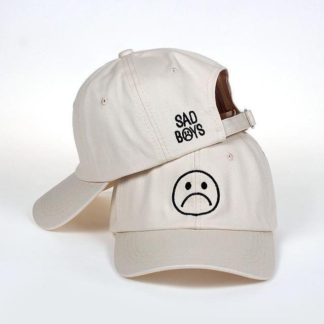 Sad Boys dad hat Adjustable cotton Harajuku Skateboard Hats crying face Baseball  cap cotton Black Hats f5192289fbb