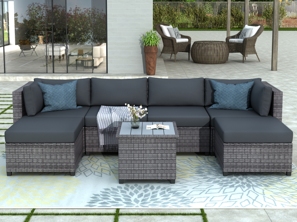 Free 2 Day Shipping Buy Clearance Outdoor Patio Sectional Sofa Sets Segmart Newest 7 Pi Backyard Furniture Outdoor Patio Furniture Sets Teak Patio Furniture