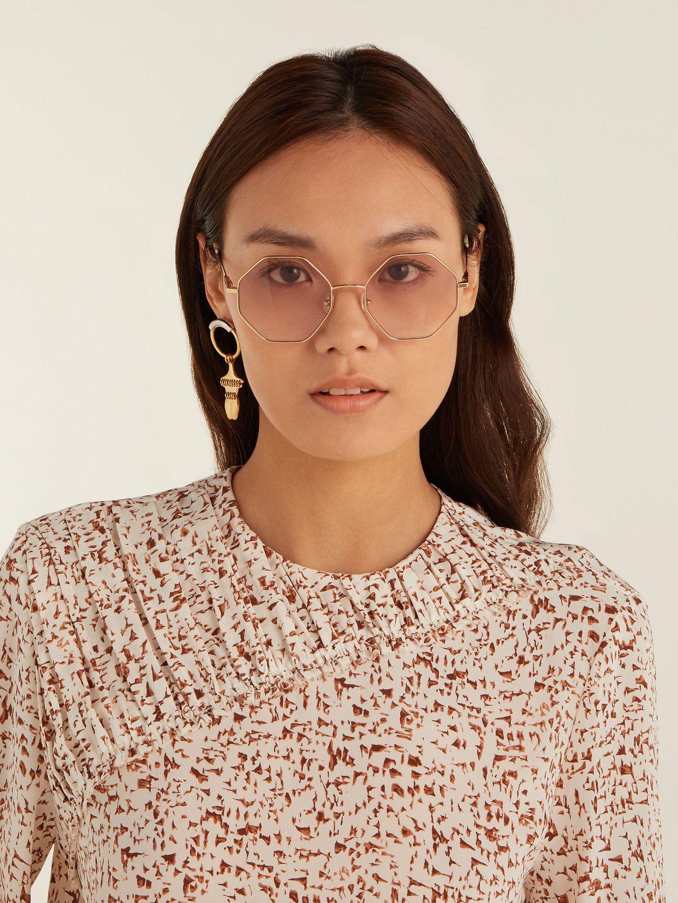 1adfbd103fad Poppy hexagon-frame glasses | Chloé | MATCHESFASHION.COM US | See It ...