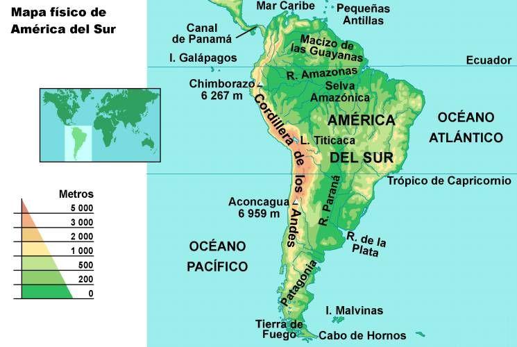 Mapa fsico Amrica del Sur  Caja Sudamrica  Pinterest