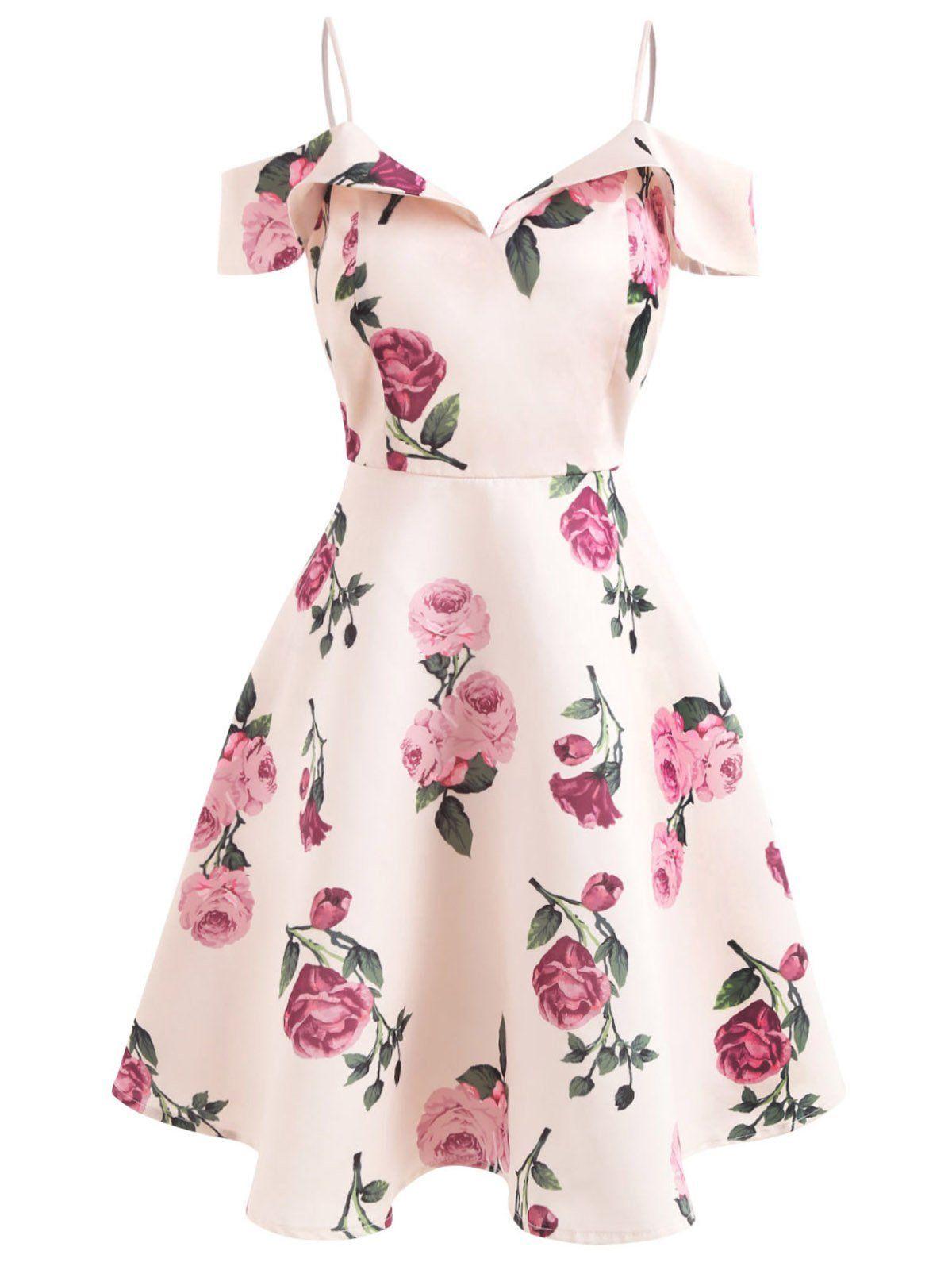Pink 1950s Floral Spaghetti Strip Dress  #vintagedresses