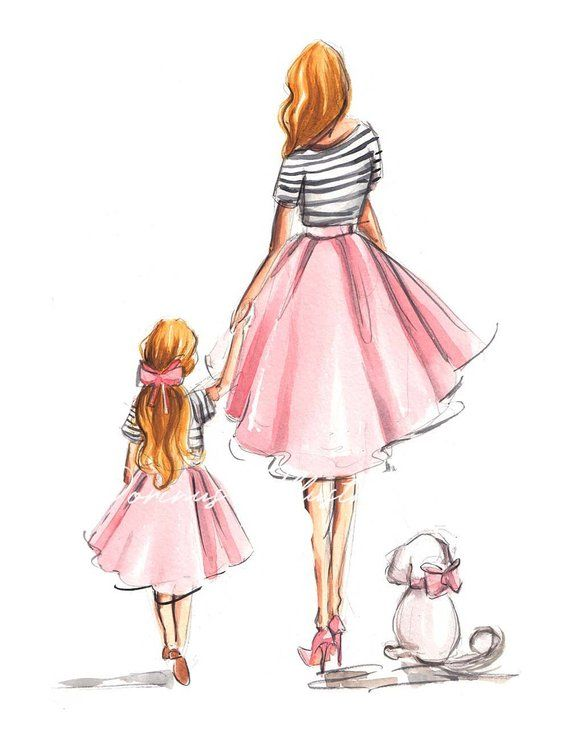 Mother Daughter Art, Mothers Day wall art, Mothers Day art, Fashion Illustration, Fashion Wall art, Mother Daughter, Nursery wall art #mygirl