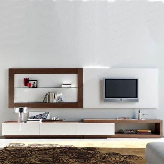 Mueble de televisión moderno con 3 cajones y hueco asimétrico, que