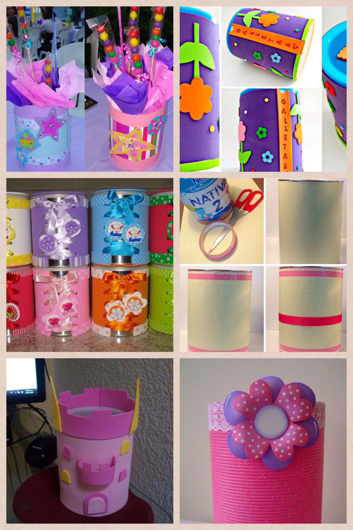 Ideas con latas leche de formula de beb luianys zulley - Manualidades con bebes ...