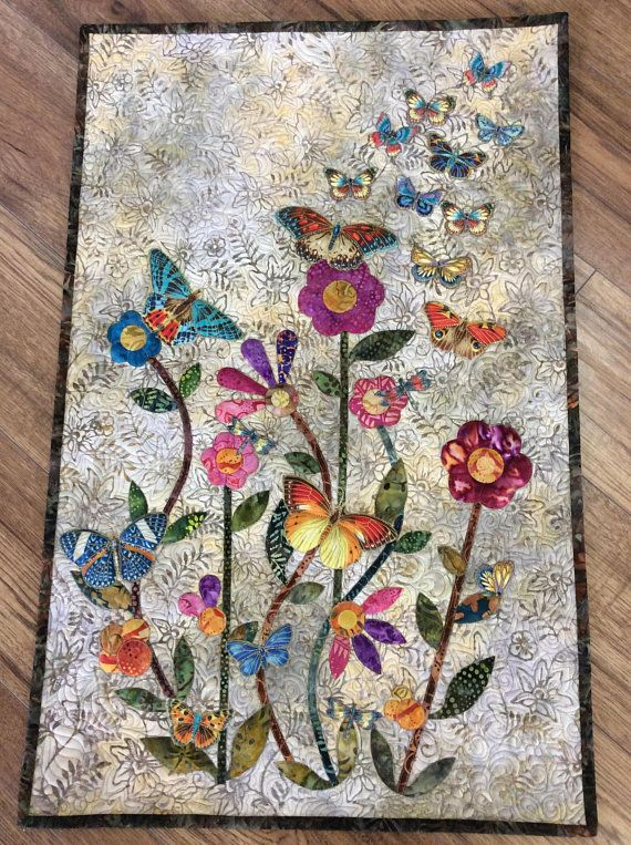 Butterfly Floral Appliqu 233 Quilted Wall Hanging Raw Edge