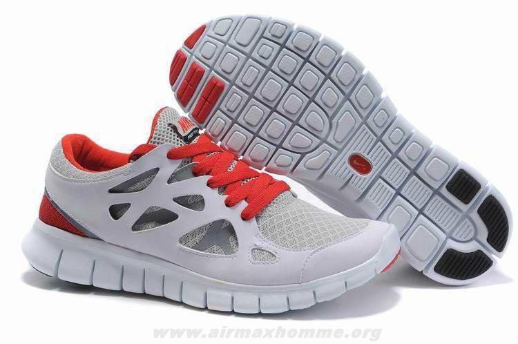 Nike Free Run 2 Femmes Platinum Blanc Wolf Gris ChTousenge Rouge 443815-016
