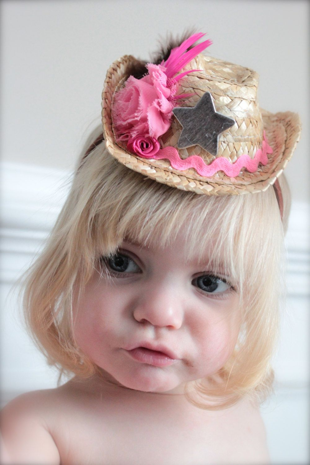 4d15972467963 Pink and Brown MINI Cowgirl Straw Hat Headband - made to match the Cowgirls  Rule Tutu