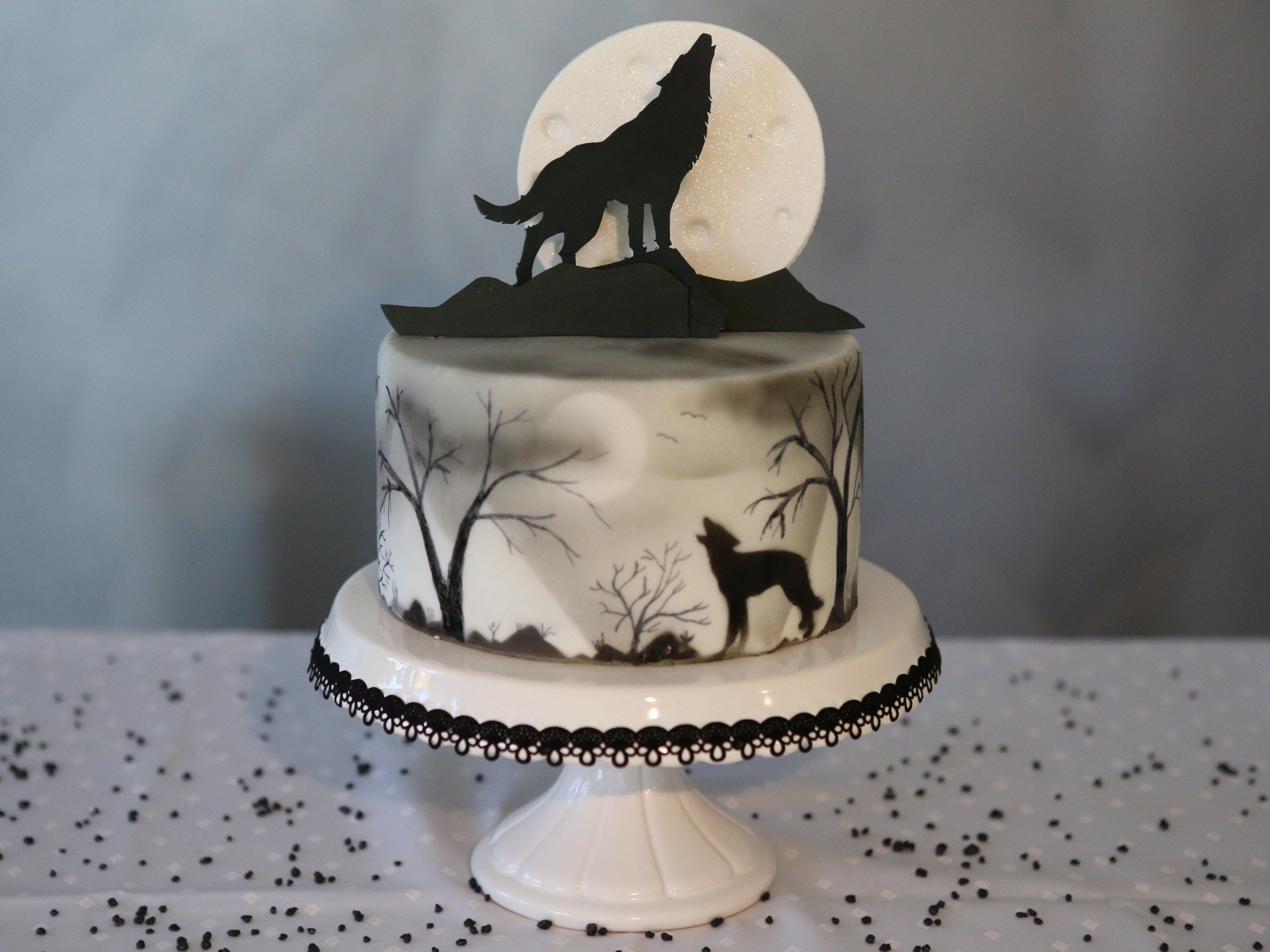 Cake Topper With A Wolf On It