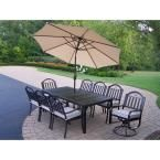 Oakland Living Rochester 9-Piece Patio Dining Set with Cushions and Beige Umbrella