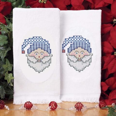 Craftways® Vintage Blues Santa Terry Towel Pair Stamped Cross-Stitch Was: $15.00                     Now: $11.99