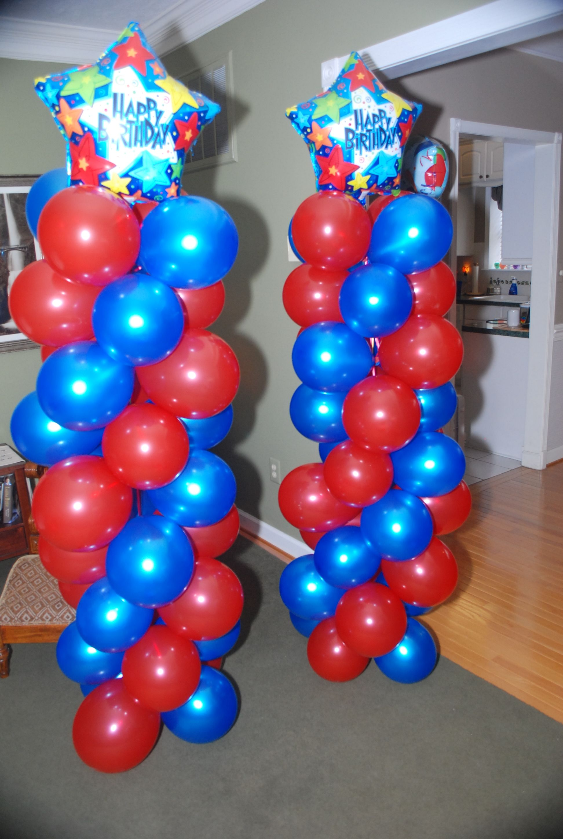 I made these balloon towers for my son s birthday party
